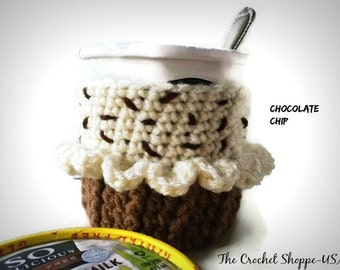 Ice Cream Cozy that looks like a cupcake  Pint Size Container Chocolate Chip Cupcake Party Favor Crochet Cozy