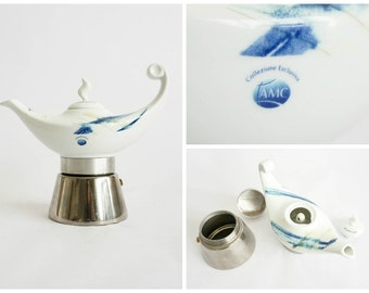 Exclusive Collection - D'Ancap Aladino Coffee Maker with Porcelain Top - 2 Cups - Made in Italy
