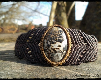 Macrame bracelet/upper arm band with landscape Jasper