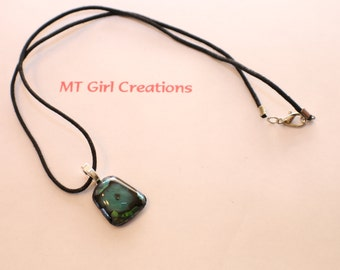Beautiful green and black dichroic fused glass pendant necklace