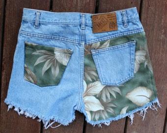 Custom Denim Shorts Frayed Cutoffs High Waist 28 Jean Shorts