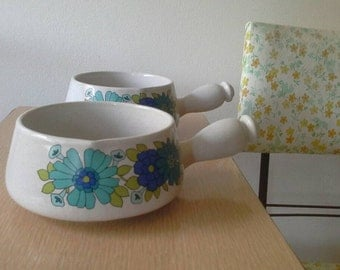 Pair of Au Gratin 1970's Flowers Soup Bowls