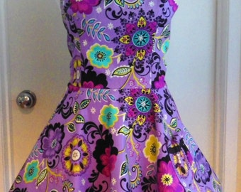 PURPLE FLORAL, coordinating stripe REVERSIBLE  Halter Women's apron