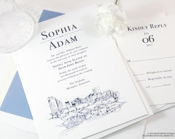 Memphis Skyline Wedding Invitations Package (Sold in Sets of 10 Invitations, RSVP Cards + Envelopes)
