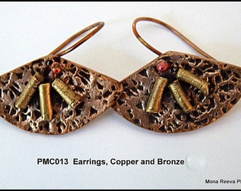 Handcrafted Copper and Bronze PMC Fan Shaped Dangling Earrings PMC013