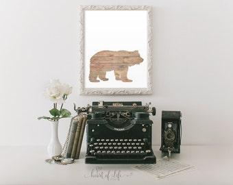 Printable art Bear art print Grizzly bear art print Rustic woodland nursery wall decor Cabin wall art Bear cabin decor HEART OF LIFE Design