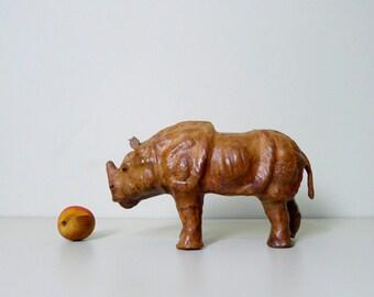 Vintage Leather Rhinoceros, Rhino, Animal, Sculpture