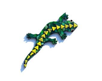 Mosaic Lizard, Stained Glass Gecko Art, Green Tropical Home Decor, Mixed Media Artwork