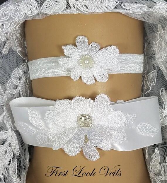 Wedding Garter set, Swarovski Accent, Glass Pearls and Rhinestones