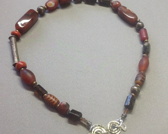 Handcrafted Necklace- Antique Beads, Gems, Venetian Glass Beads, Fine Silver
