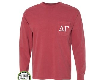 Delta Gamma Comfort Colors LONG Sleeve Pocket Tee, Greek gift, Sorority gift, Big and Little, Delta Gamma, DG