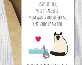 Valentine Card Her Printable for Mom Funny Cat Valentines Day