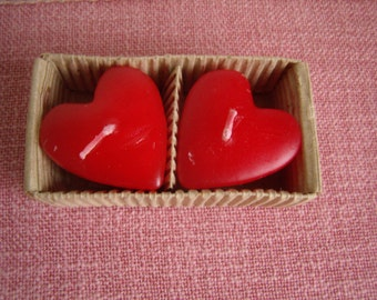 French Vintage, 2 candles in red heart, new