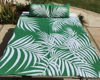 Hawaiian Quilt Palm Leaf Forest Green Full Size (75inX89in) Batik (Hand Dyed) with Shams Palama Style