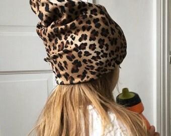 Slouchy leopard print Beanie / baby beanie hat / jersey knit hat / toddler beanie / kids beanie / hipster baby