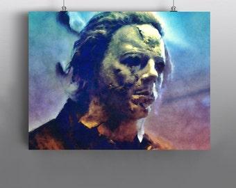 Michael Myers -  Halloween Mixed Media Painting, John Carpenter Cult Classic, Horror Movie Art Poster No189