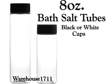 8oz. PET Clear Plastic Tubes | Bath Salt Tubes | Candy Tubes | Hot Chocolate Tubes | Your Choice: Black or White Cap