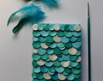 Handmade notebook Scales notebook Handmade diary Handmade planner Planer journal Sketch book Mermaid scales Ocean inspired OOAK notebook