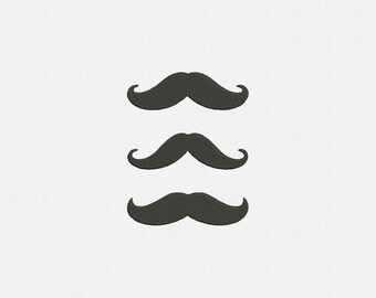 Mustache Machine Embroidery Design - 3 Designs by 3 Sizes