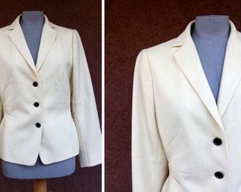 Akris Pale Yellow Cashmere and Wool Jacket - Akris Yellow Cashmere Blazer - Size S