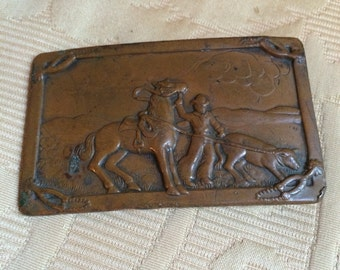 Vintage Cowboy Belt Buckle of Copper or Bronze 1940s 1950s  Western Gear Cattle Range West Texas Wyoming Montana Dude Ranch Cowpoke