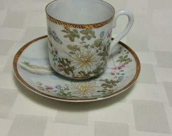 Fine China Teacup and Saucer - Made in Japan - Unknown mark but appeared to be Occupied Japan