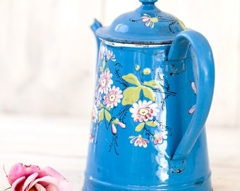 Vintage French Enamel Coffee Pot - Shabby Chic Decor - Free Shipping Within the USA