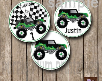 Monster Truck Party Circles - Monster Truck Birthday Party