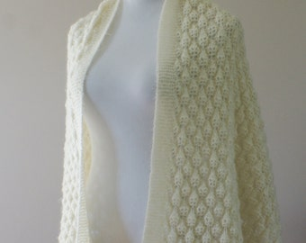 Vintage Ivory Mohair Knit Boho Shawl/Long Scarf Hand Made  59 x 20 Inch M-824
