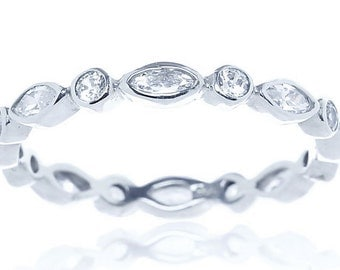 Bezel Set Eternity Alternating CZ Stackable Sterling Silver Wedding Band White Cubic Zirconia Ring Round Marquise Cut