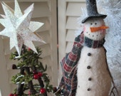 Large Vintage Wooden Bobbin Snowman - Mr. Sparkles Primitive Snowman - Handmade holiday display