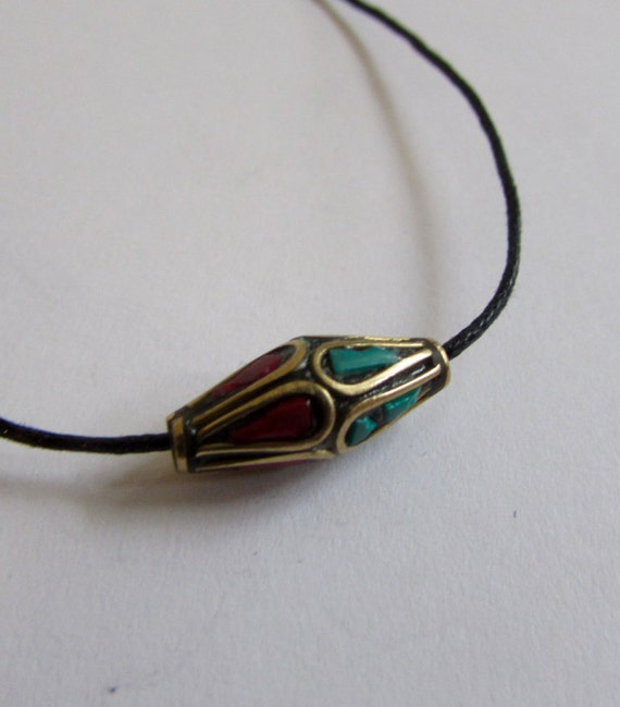 Nepali Brass Bead Turquoise & Coral On Wax Cord Adjustable Unisex Free UK Shipping + Gift Bag