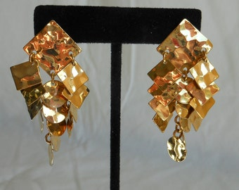 1980s Gold Square and Circle Chandelier Earrings