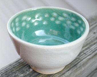 Ceramic Celadon Green and White Bowl