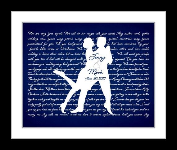 Wedding song lyrics anniversary gift ideas by UniqueCardsandGifts