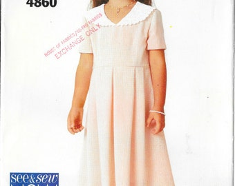 Mid-calf length dress pattern with above elbow sleeves and contrast collar in Girls' sizes 12-14 See & Sew 4860 UNCUT and FF (1997) K0486