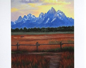 Teton Mountains - Tetons - Landscape oil painting - Sunset - Open Edition Print