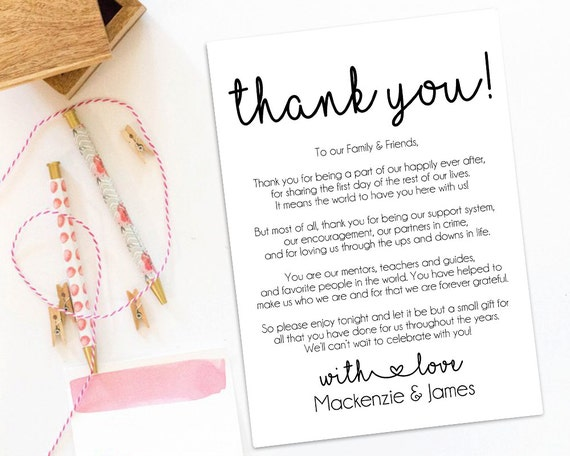 Thank You Letter For Wedding Gift: Wedding Welcome Letter Wedding Thank You Letter Printable