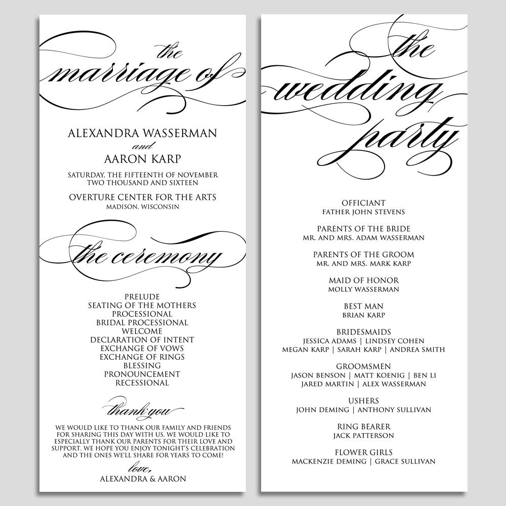 wedding program template wedding program printable ceremony. Black Bedroom Furniture Sets. Home Design Ideas