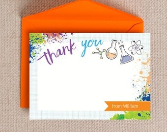 Personalised Mad Science Birthday Party Thank You Cards