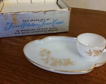 Vintage 1950's Federal Glass Snack Set Sparkling Crystal Mint Unused Original Box Mid Century Milk Glass