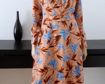 Robe vintage longue rose/fleurs bleues bohème taille 40/42 /fleurs/Vtg maxi 70's dress uk size 12/14 / us 10/12