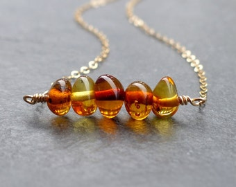 Baltic amber necklace, 14k gold filled, sterling silver, amber jewelry, genuine amber, natural jewelry, minimalist necklace, bar necklace