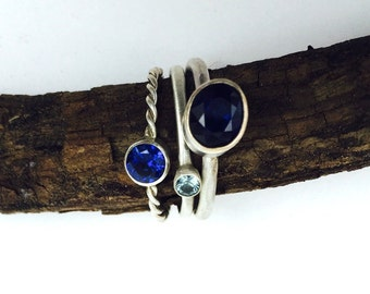 Multi Blues Stack Rings