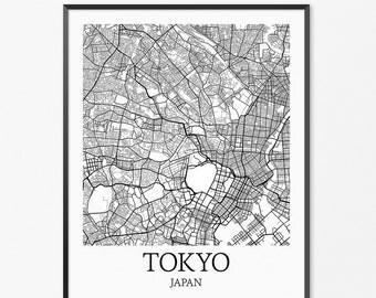 Tokyo Map Art Print, Tokyo Poster Map of Tokyo Decor, Tokyo City Map Art, Tokyo Gift, Tokyo Japan Art Poster