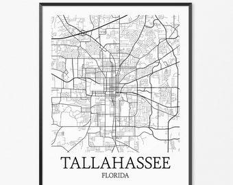 Tallahassee Map Art Print, Tallahassee Poster Map of Tallahassee Decor, Tallahassee City Map Art, Tallahassee Gift, Tallahassee Art Poster