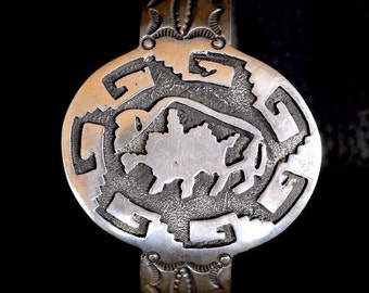 Navajo Buffalo Stamped Silver Cuff - Signed