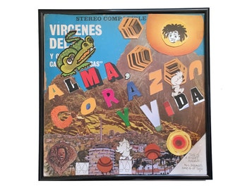 Vinyl Record Cover, Collage Art, Vintage 33 LP Vinyl, Record Album, Original Art, Framed Wall Art, One of a Kind Home Decor