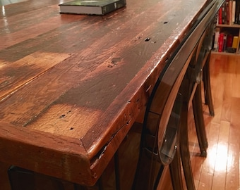 Custom Reclaimed Wood Dining Room or Kitchen Table with Steel Hairpin Legs