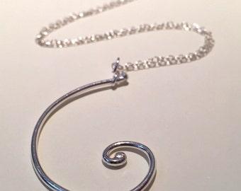 Science jewellery Fibonacci spiral silver spiral pendant -  maths jewellery